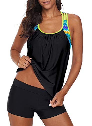 EVALESS Woman Layered Style Racerback Padded Tankini Top with Boy Short 2pcs Athletic Swimsuit Sun Protection Push Up Small Black