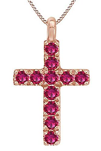 - AFFY Round Cut Simulated Ruby Cross Pendant Necklace in 14k Rose Gold Over Sterling Silver