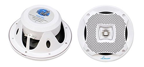 Lanzar 5.25 Inch Marine Speakers - 2 Way Water Resistant Audio Stereo Sound System with 400 Watt Power, Attachable Grills and Resin Treatment for Indoor and Outdoor Use - 1 (Pair High Power Stereo Speaker)