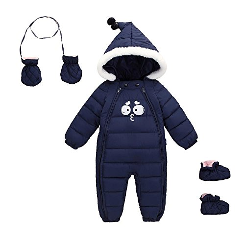 blue Cherry Hooded Down Romper Puffer Outerwear Jacket Thick Baby Winter Jumpsuit Navy Months 6 Warm 48 Snowsuit Happy TdqIT