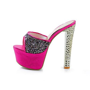 LvYuan Mujer-Tacón Stiletto-Confort Talón Descubierto-Sandalias-Boda Fiesta y Noche Vestido-Purpurina-Plata Oro Rosa Rosada rose pink