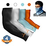 ARMORAY Arm Sleeves for Men or Women - Compression Warmers to Cover Tattoo - for Basketball Golf Running Football Cycling or Sun Protection