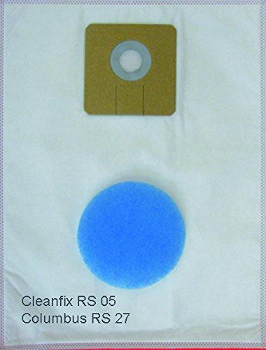 10 Staubsaugerbeutel , Staubfilterbeutel für CLEANFIX RS 05; Rucksacksauger, mit Schmutzklappe aus Synthese Vlies 5-lagig , incl. 1 Motorschutzfilter