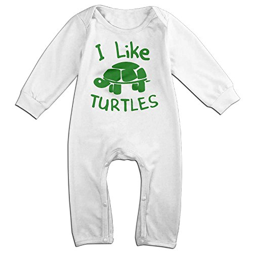 Fat Turtle Costume (Infant Baby's I Like Turtles Long Sleeve Romper Jumpsuit 18 Months White)