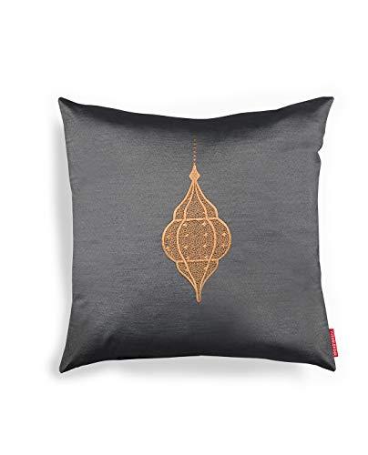 Silk Route Visual Dhikr Lantern Embroidery Cushion Cover - Black/Mocha