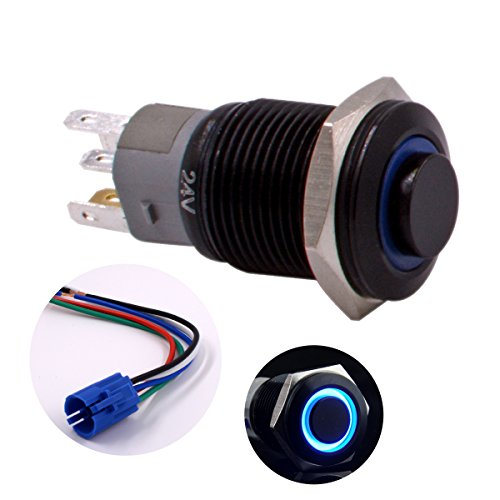 16 Led 24v Mm (Momentary Push Button Switch, URTONE UR168, 1NO1NC Black Metal Shell with 24V Blue LED Ring Suitable for 16mm 5/8
