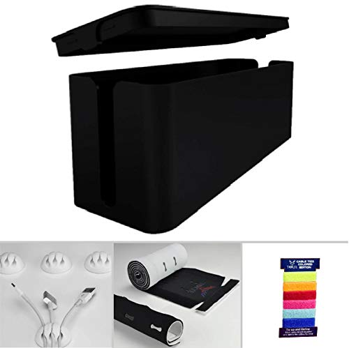 Cable Management Box, Cord Organizer and Cover with Cable kit - Desk, Wall Mounted TV, Video, Game and Computer Wire Holder, Hider, Protector with Cable Sleeve, Black Edition by Tokye XXL Value