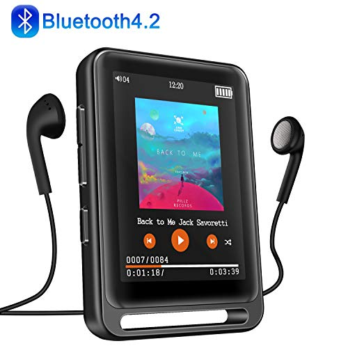 MP3 Player, Searick 16G MP3 Player with Bluetooth 4.2, 2.4″ LCD Portable HiFi Lossless Sound Music MP3 Players with FM Radio/Voice Recorder, Support up to 128GB (Headphone, Armband, Lanyard Included)