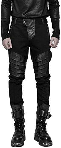 Punk Rave Men's Black Gothic Steampunk Casual Armor Trousers Pants
