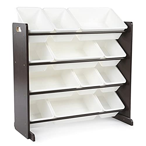 Tot Tutors Kidsu0027 Toy Storage Organizer With 12 Plastic Bins, Espresso/White  (Espresso Collection)