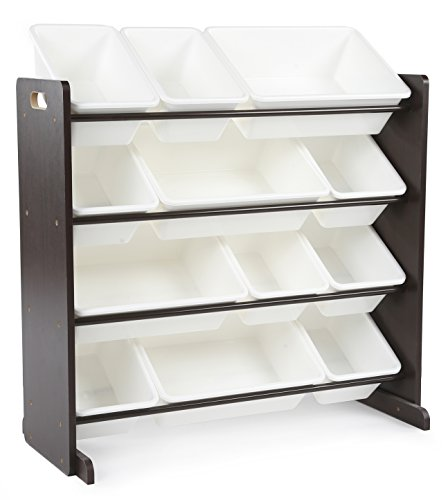 Tot Tutors Kids' Toy Storage Organizer with 12 Plastic Bins, Espresso/White (Espresso Collection) (Rack Sorting Shelf)