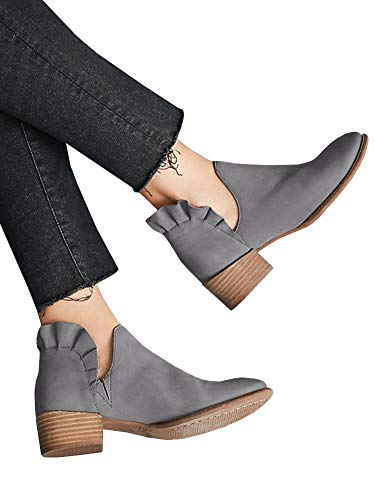 Womens Ruffle Bootie - Womens Ruffle Ankle Booties Low Chunky Block Stacked Heel Boots Slip On Pointed Toe Western Shoes Grey