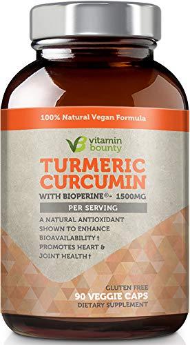 Vitamin Bounty Turmeric Curcumin Supplement 1500mg - with Bioperine, 95% Standardized Curcuminoids - All Natural Joint Pain Relief & Anti-Inflammatory