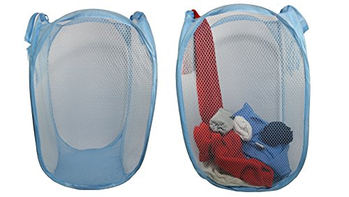 Pop Up Hamper Storage for Toys, Laundry Diapers Hamper Bag with Carry Handles, Pack of 2 Light Blue