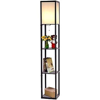 Safstar Modern Shelf Floor Lamp W/ 3 Storage Shelves For Lighting Home  Living Room Bedroom