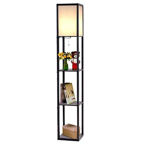 Storage Lamp (Safstar Modern Shelf Floor Lamp w/ 3 Storage Shelves for Lighting Home Living Room Bedroom)
