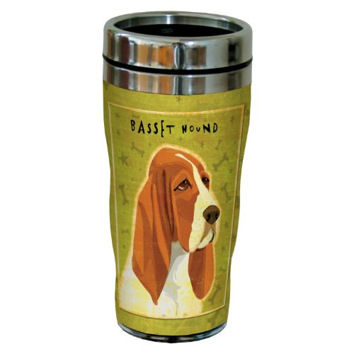 Tree-Free Greetings sg24059 Basset Hound by John W. Golden 16-Ounce Sip 'N Go Stainless Steel Lined Travel Tumbler Basset Hound Travel Mug