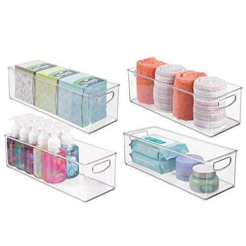 mDesign Storage Bins with Built-in Handles for Organizing Hand Soaps, Body Wash, Shampoos, Lotion, Conditioners, Hand Towels, Hair Accessories, Body Spray, Mouthwash - 16'' Long, 4 Pack - Clear by mDesign (Image #1)