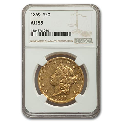 1869 $20 Liberty Gold Double Eagle AU-55 NGC G$20 AU-55 NGC