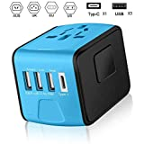 Travel Adapter, ANAHAO International Universal Power Converter, Portable Wall Charger with 3.4A 3 USB 1 Type C, Worldwide AC Outlet Plugs Adapter kit for Europe, UK, US, AU, Asia Covers 150 Countries