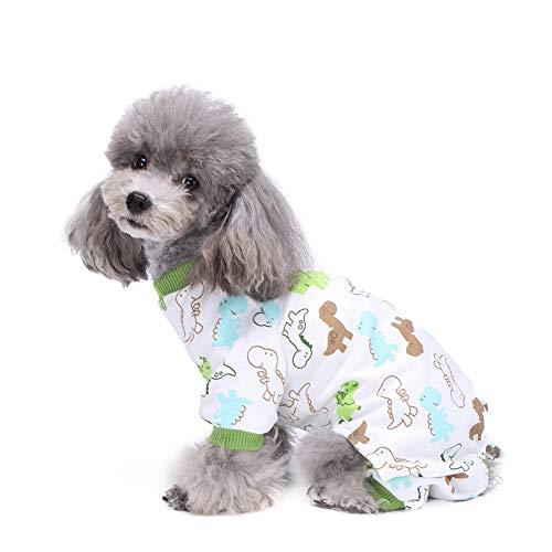 Poppy Dog Cat Cute Cartoon Print Pajamas Warm Clothes,Pets Soft Cotton Jumpsuit Jacket Coat Sweater (L, Green) -