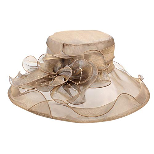 Ladies Organza Hat Cocktail Party Bridal Tea Party Wedding Elegant Hat Church Kentucky Derby Floral Retro Hat(Free Size,Rose Gold)]()