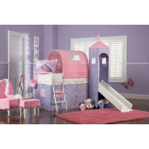 Powell Princess Castle Twin Tent Bunk Bed with Slide