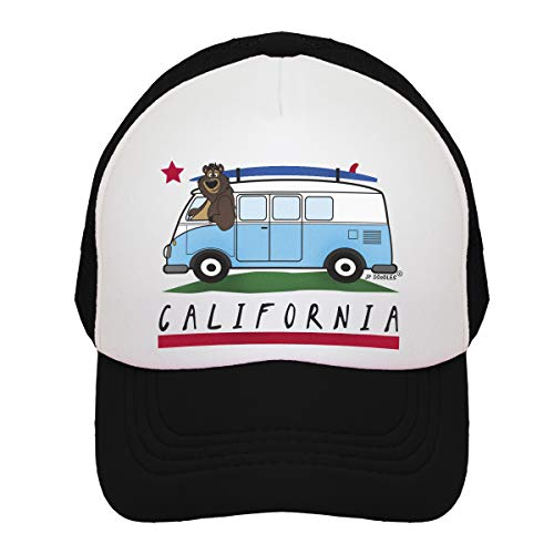 JP DOoDLES California Bear Flag on Kids Trucker Hat. Available in Baby, Toddler, Youth, and Adult Sizes (Black-Surfer Bus, ITTY Bitty 4-12 Months)