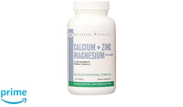 Universal Nutrition Calcium, Zinc & Magnesium Standard - 100 Tabletas: Amazon.es: Salud y cuidado personal