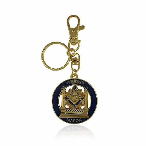 - Boaz and Jachin Masonic Pillars and Mosaic Pavement Key Chain with Belt Clip