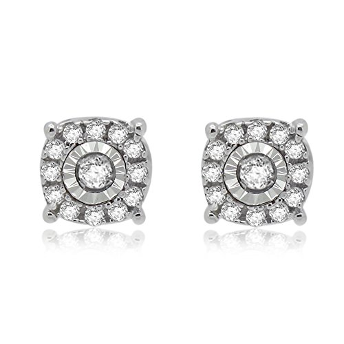 0.12 Ct Round Cut Natural Diamond 925 Sterling Silver Stud (0.12 Ct Natural)