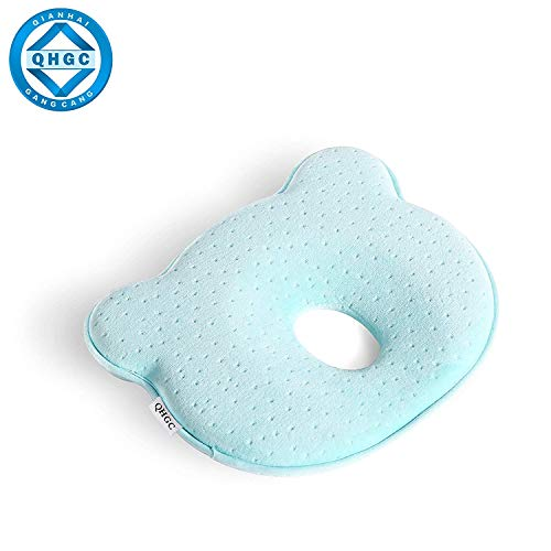 QHGC Newborn Baby Head Shaping Pillow (Memory Foam Cushion) Preventing Baby Flat Head Syndrome (Plagiocephaly)&Neck Support,100% Cotton Breathable Pillow,Best Perfect for 0-12 Months Baby ()