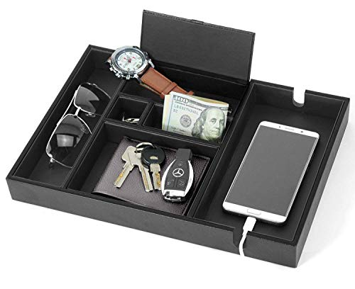 Lifomenz Co Mens Valet Tray with Charging Station Nightstand Dresser Organizer,Mens Catchall Tray for Keys Phone Wallet Coin Jewelry Sunglasses Watch