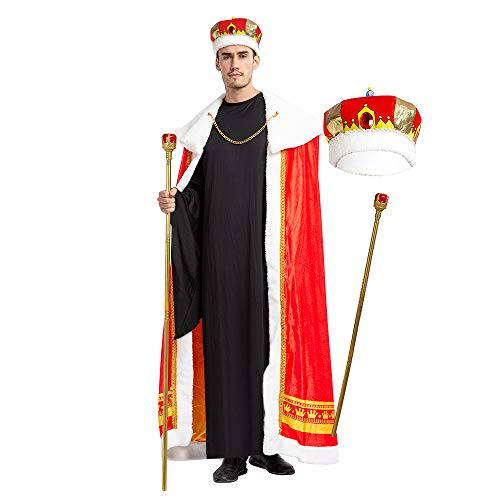 King Crown Halloween Costume (Spooktacular Creations Regal King Royal Robe Halloween Costume Set with King Crown and Scepter (Standard))
