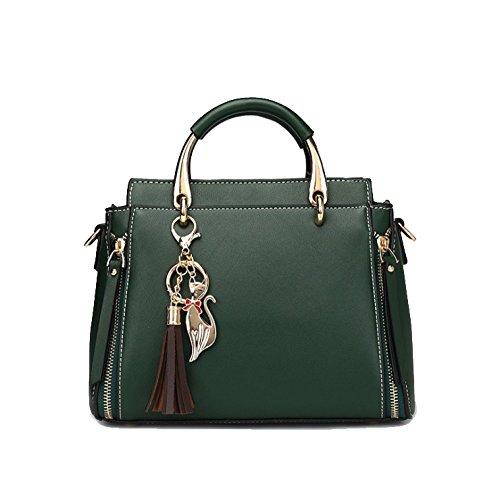 AJLBT Bolso De Mujer Verano Moda Casual Bolso Borla Personalidad Salvaje Bolso De Hombro Multicolor Elegante Green