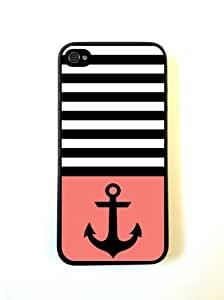 Anchor Black Stripes & Coral Black iPhone 5 Case - For iPhone 5/5G - Designer PC Case Verizon AT&T Sprint