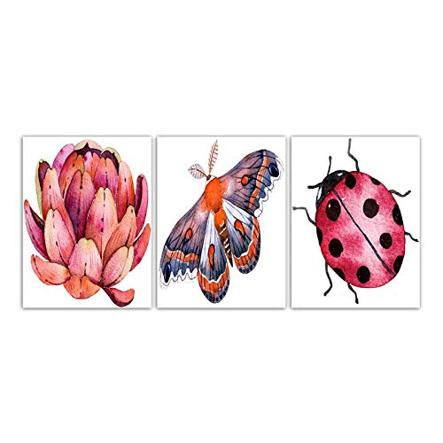 - Wadyx Fashion Nordic Style Poster Wall Art Printing Modern Ladybugs Butterfly and Flower Minimalism Canvas Paintings Living Room Decor 45X60Cmx3 No Frame