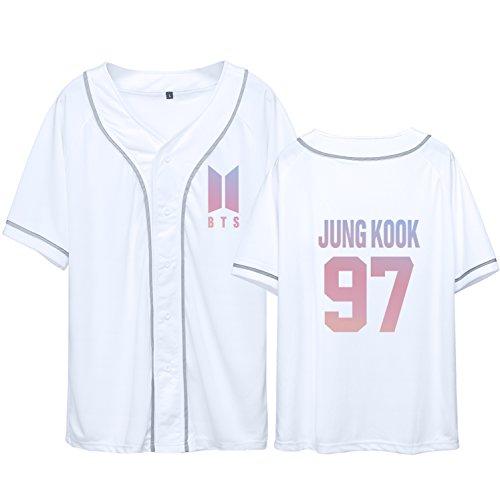 Dolpind Bangtan Boys BTS baseball jersey Same Style T-Shirt SUGA JIMIN Jung Kook Tee Shirt L Jung Kook 97 White