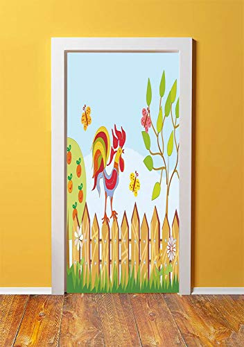 - Farm House Decor 3D Door Sticker Wall Decals Mural Wallpaper,Border with Rooster Tree Butterfly and Flowers in Summer Kids Cartoon Print,DIY Art Home Decor Poster Decoration 30.3x78.14472,Multi