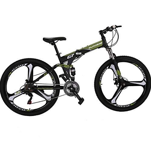 Eurobike Folding Bike 21 Speed Full Suspension Mountain Bicycle 27.5