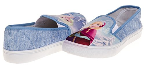 Disney Frozen Anna and Elsa Girl's Slip-On Sneaker, Junior Size 9 – Blue