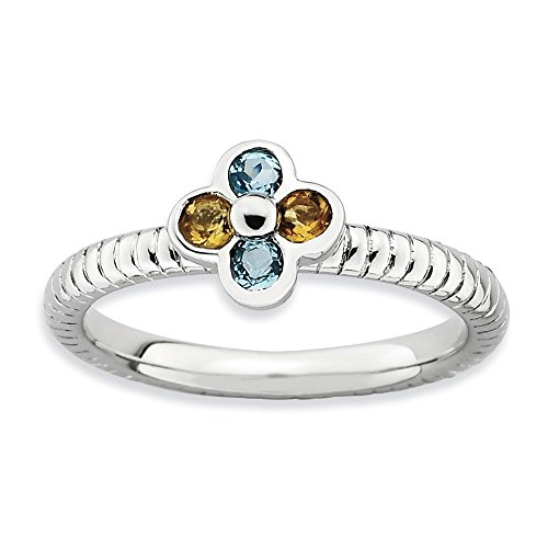 - 925 Sterling Silver Blue Topaz Yellow Citrine Flower Band Ring Size 7.00 Stone Stackable Gemstone Birthstone November December Fine Jewelry Gifts For Women For Her