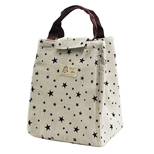 Mziart Cute Insulated Lunch Bags Leakproof Lunch Tote Bag for Women Men, Reusable Travel Picnic Meal Prep Lunch Box Holder Cooler Bag Office Lunch Organizer (Stars) ()