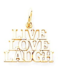 IceCarats 10k Yellow Gold Live Love Laugh Pendant Charm Necklace