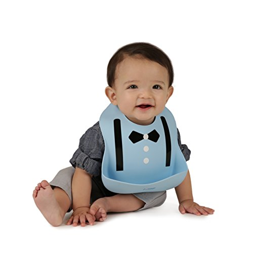 Waterproof Bibs for Toddlers – Silicone Baby Bib – Easy to Clean Feeding Bib – Soft, Comfortable, and Adjustable – Fits Up to 6 Years Old (Blue Suit)