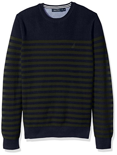 Nautica Men's Standard Long Sleeve Classic Bretton Stripe Sweater, Moss Heather, XX-Large (Green Cotton Stripe Sweater)