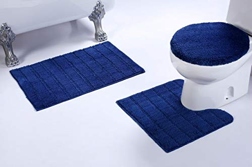 Luxury Home Collection 3 Piece Microfiber Bathroom Rug Set Non-Slip Bathroom Rug Contour, Mat and Toilet Lid Cover #670 (Navy, 3 PCE Set)