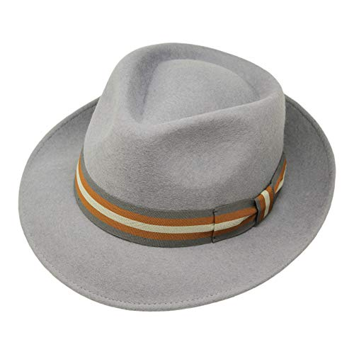 (Premium Doyle - Teardrop Fedora Hat - 100% Wool Felt - Crushable for Travel - Water Resistant - Unisex - Light Grey 54cm)