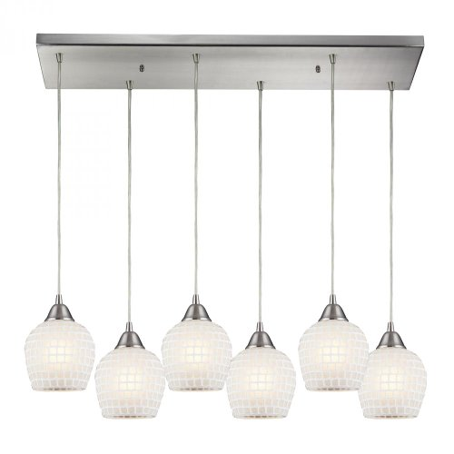 Elk 528-6RC-WHT Fusion 6-Light Pendant with White Mosaic Glass Shade, 30 by 9-Inch, Satin Nickel Finish