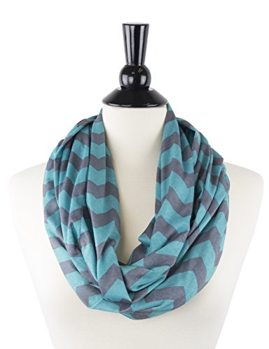 Womens Grey and Turquoise Chevron Print Pattern Infinity Scarf Wrap with Zipper Pocket, Best Travel Infinity Scarves for Women, Girls, Ladies (Best Places For Active Retirement)